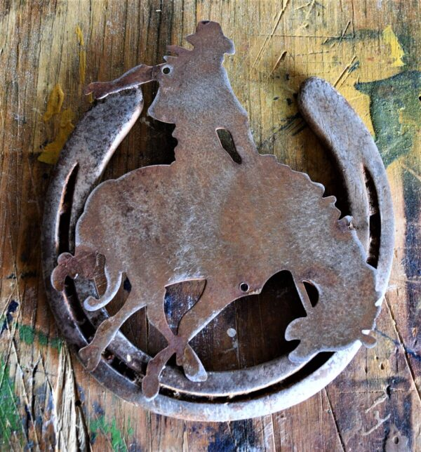 Shop Wyoming Metal Bucking Bronco mounted on Horseshoe