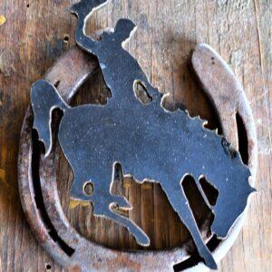 Shop Wyoming Metal Bucking Horse mounted on Horseshoe